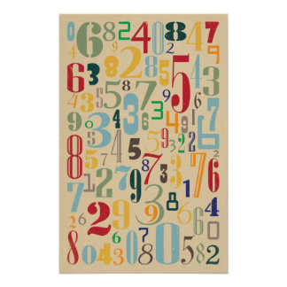 Retro Numbers - Math Posters
