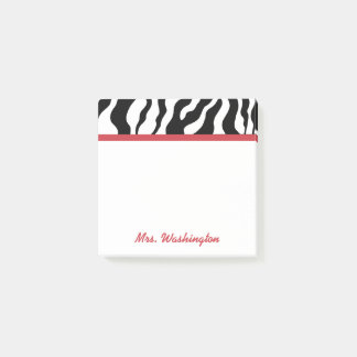 Retro Office Zebra Teacher's Post It Notes Gift