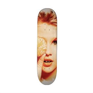 Retro Oil Painting Orange Beauty Girl Skate Deck