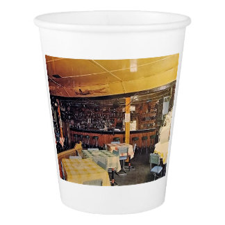 Retro Old Fashioned Shot and a Beer Tavern Vintage Paper Cup