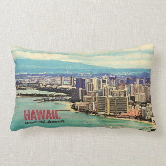 Retro Old Look Hawaii Oahu Island Waikiki Beach Lumbar Pillow