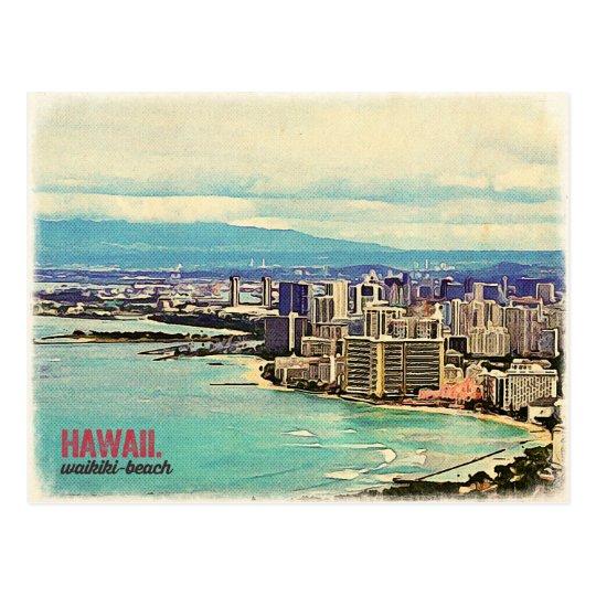 Retro Old Look Hawaii Oahu Island Waikiki Beach Postcard