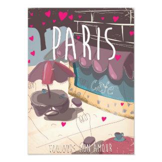 Retro old Parisian cafe travel print. Photo