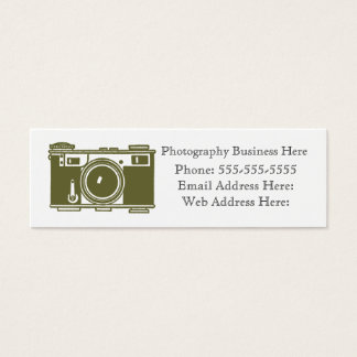 Retro Olive Green Film Camera Business Card