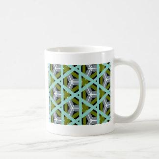 Retro Olive Green Gray Cyan Design Coffee Mug