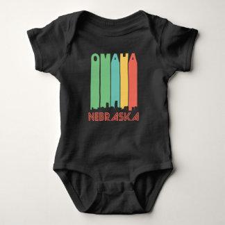 Retro Omaha Nebraska Skyline Baby Bodysuit
