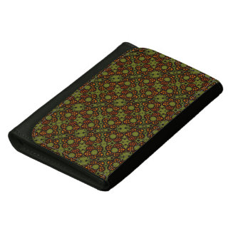 Retro Orange And Green Floral Custom Name Leather Wallets