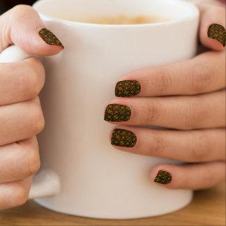 Retro Orange And Green Floral Minx Nail Art
