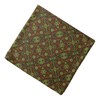 Retro Orange And Green Floral Pattern Bandana
