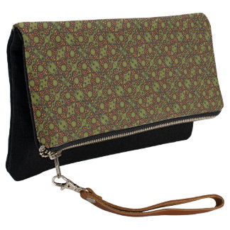 Retro Orange And Green Floral Pattern Clutch