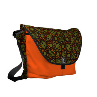 Retro Orange And Green Floral Pattern Courier Bags