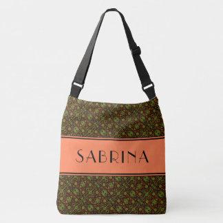 Retro Orange And Green Floral Pattern Custom Name Crossbody Bag