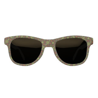 Retro Orange And Green Floral Pattern Sunglasses