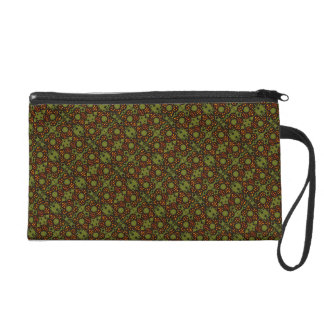Retro Orange And Green Floral Pattern Wristlet