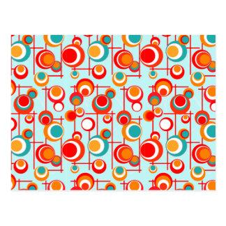 Retro Orange and Turquoise Dots Postcard