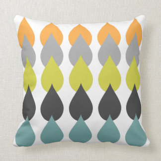 Retro Orange Chartreuse Yellow Aqua Throw Pillow