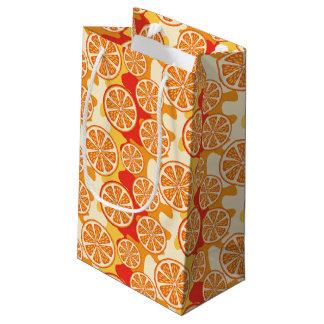 Retro Orange Citrus Pattern Small Gift Bag