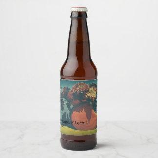 Retro Orange Floral Still Life Blue Vintage Design Beer Bottle Label