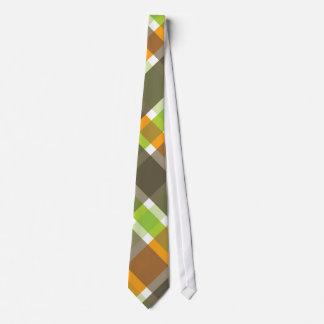 retro orange green brown plaid tie
