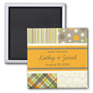 Retro Orange Green Combo Save The Date Magnet