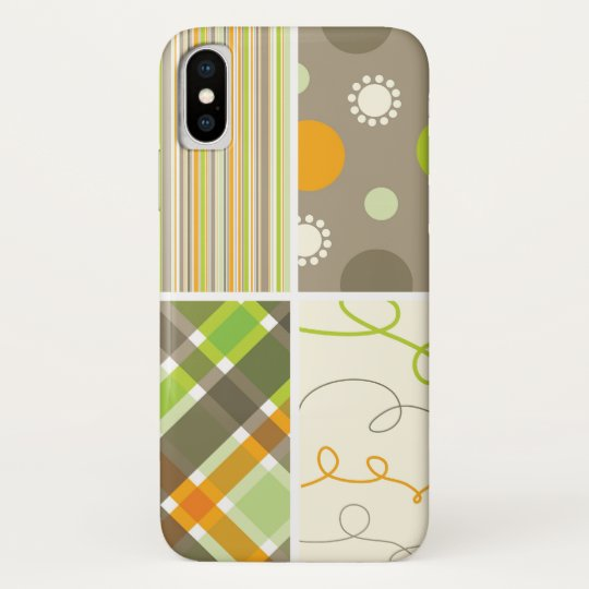 Retro Orange Green Plaid Pattern Dots Scribbles iPhone X Case