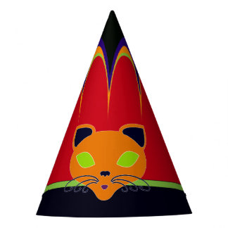 Retro Orange Lime Cat Carnival Party Hat