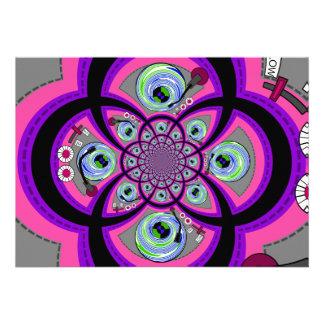 Retro orange pink and green turntable vortex personalized invitation