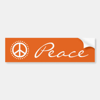 Retro Orange Polka Dot Peace Sign Symbol Bumper Sticker