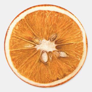 Retro Orange Slice Round Stickers