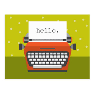 Retro Orange Typewriter Customizable Postcard