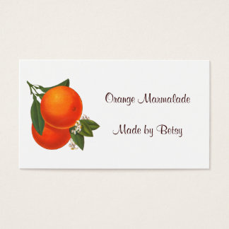 Retro Oranges Recipe Tag Business Card Template