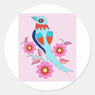 Retro oriental style bird in pink classic round sticker