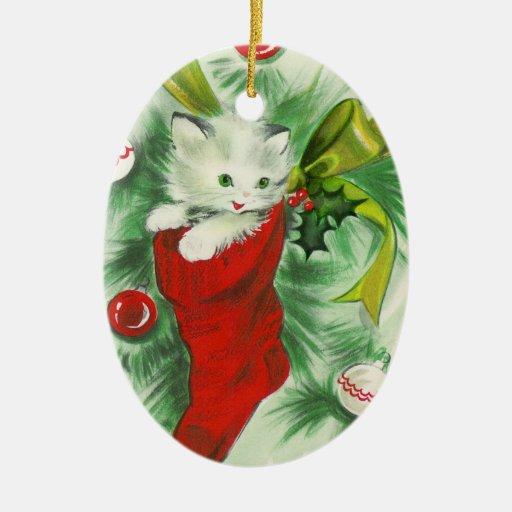 Rétro ornement de Noël de chaton