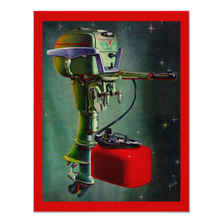 Retro Outboard w/ Red Gas Tank Vacation Invitation
