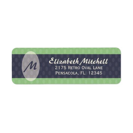 Retro Ovals Monogram Return Address Label - Moss