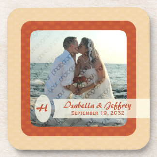 Retro Ovals Photo Coaster Set - Blush