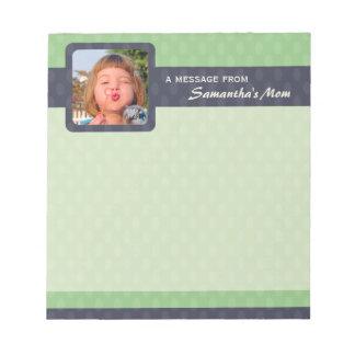 Retro Ovals Photo Small Mom Notepad - Moss