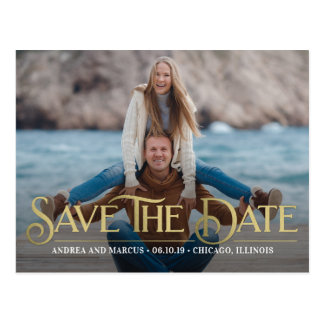 Retro Overlay Modern Save The Date Postcard