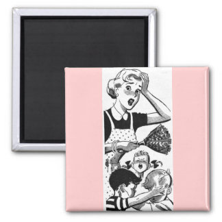 Retro Overwhelmed Mom Square Magnet