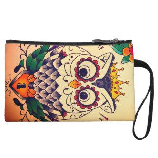 retro owl and lock mini clutch