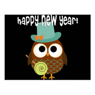 Retro Owl for New Years Eve Postcard