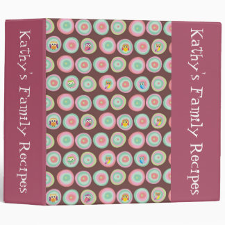 Retro Owl Pattern Custom Recipe Binder