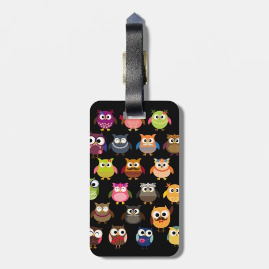 Retro Owl Pattern Luggage Tag