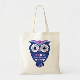 Retro Owl with Hearts Tote Bag