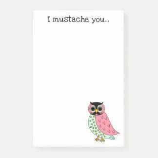 Retro Owl with Moustache 4x6 Post-it Notes