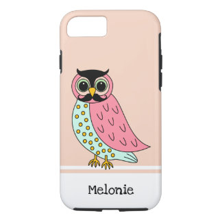 Retro Owl with Moustache Add Name iPhone 8/7 Case