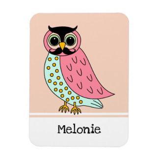 Retro Owl with Moustache Add Name Magnet