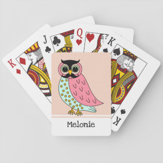 Retro Owl with Moustache Add Name Playing Cards