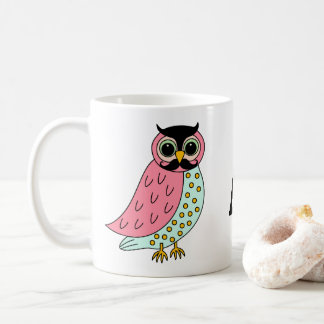 Retro Owl with Moustache Monogram Coffee Mug