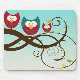 Retro Owls on Swirly Branch Mousepad